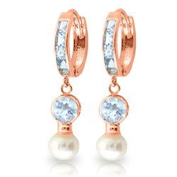ALARRI 4.3 Carat 14K Solid Rose Gold Hoop Earrings Pearl Aquamarine