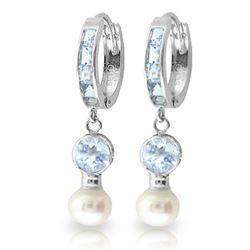 ALARRI 4.3 Carat 14K Solid White Gold Hoop Earrings Pearl Aquamarine
