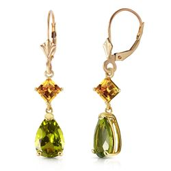 ALARRI 4.5 CTW 14K Solid Gold Leverback Earrings Peridot Citrine
