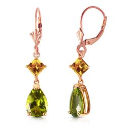 ALARRI 4.5 CTW 14K Solid Rose Gold Leverback Earrings Peridot Citrine