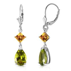 ALARRI 4.5 CTW 14K Solid White Gold Leverback Earrings Peridot Citrine