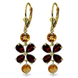 ALARRI 5.32 Carat 14K Solid Gold Chandelier Earrings Garnet Citrine