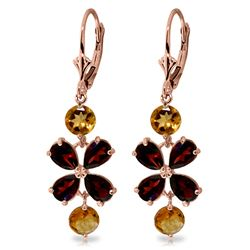 ALARRI 5.32 CTW 14K Solid Rose Gold Chandelier Earrings Garnet Citrine
