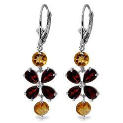 ALARRI 5.32 CTW 14K Solid White Gold Chandelier Earrings Garnet Citrine
