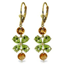 ALARRI 5.32 CTW 14K Solid Gold Chandelier Earrings Peridot Citrine