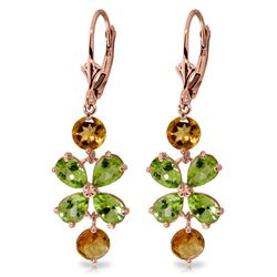 ALARRI 5.32 Carat 14K Solid Rose Gold Chandelier Earrings Peridot Citrine
