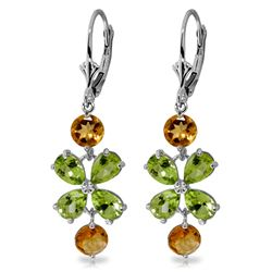 ALARRI 5.32 Carat 14K Solid White Gold Chandelier Earrings Peridot Citrine