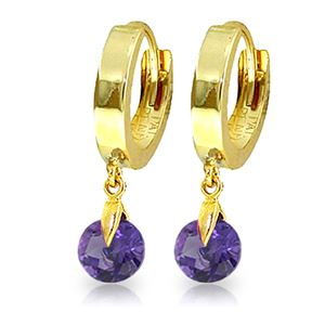 ALARRI 1.5 Carat 14K Solid Gold Hoop Earrings Natural Amethyst