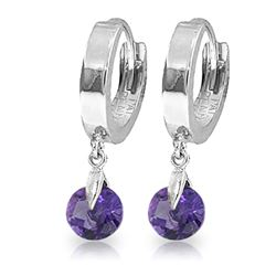 ALARRI 1.5 Carat 14K Solid White Gold Hoop Earrings Natural Amethyst