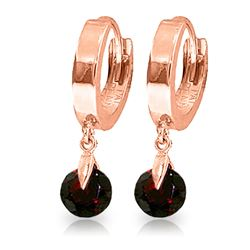 ALARRI 2 Carat 14K Solid Rose Gold Hoop Earrings Natural Garnet