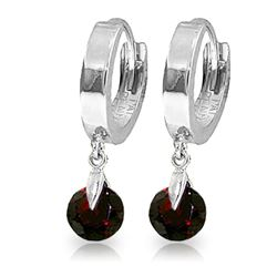 ALARRI 2 CTW 14K Solid White Gold Hoop Earrings Natural Garnet