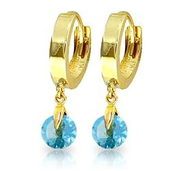 ALARRI 2 CTW 14K Solid Gold Hoop Earrings Natural Blue Topaz