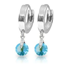 ALARRI 2 CTW 14K Solid White Gold Hoop Earrings Natural Blue Topaz