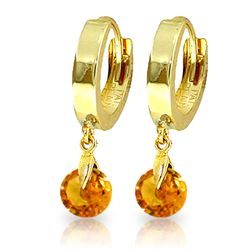 ALARRI 1.6 Carat 14K Solid Gold Hoop Earrings Natural Citrine