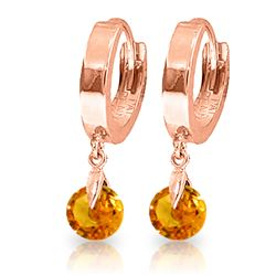 ALARRI 1.6 CTW 14K Solid Rose Gold Hoop Earrings Natural Citrine