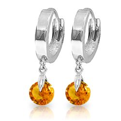 ALARRI 1.6 Carat 14K Solid White Gold Hoop Earrings Natural Citrine