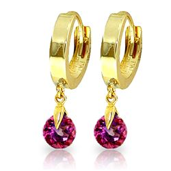 ALARRI 2 Carat 14K Solid Gold Hoop Earrings Natural Pink Topaz