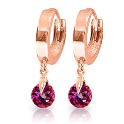 ALARRI 2 Carat 14K Solid Rose Gold Hoop Earrings Natural Pink Topaz