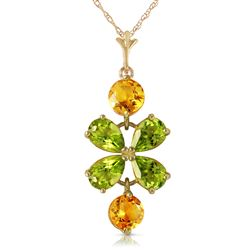 ALARRI 3.15 CTW 14K Solid Gold Necklace Peridot Citrine