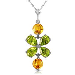 ALARRI 3.15 CTW 14K Solid White Gold Necklace Peridot Citrine