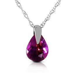ALARRI 0.68 Carat 14K Solid White Gold Outline Of Life Amethyst Necklace