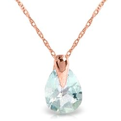 ALARRI 0.68 Carat 14K Solid Rose Gold Necklace Natural Aquamarine