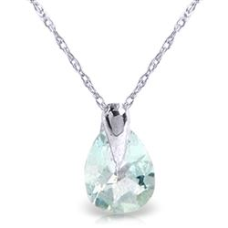 ALARRI 0.68 CTW 14K Solid White Gold Necklace Natural Aquamarine