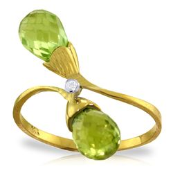 ALARRI 2.52 CTW 14K Solid Gold Ring Diamond Briolette Peridot
