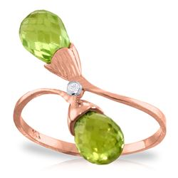 ALARRI 2.52 Carat 14K Solid Rose Gold Ring Diamond Briolette Peridot