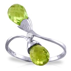 ALARRI 2.52 CTW 14K Solid White Gold Ring Diamond Briolette Peridot