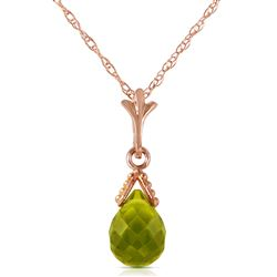 ALARRI 2.1 CTW 14K Solid Rose Gold Necklace Briolette Peridot