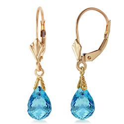 ALARRI 4.5 Carat 14K Solid Gold Leverback Earrings Briolette Blue Topaz