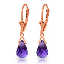 ALARRI 4.5 Carat 14K Solid Rose Gold Leverback Earrings Briolette Amethyst