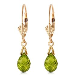 ALARRI 4.5 CTW 14K Solid Gold Leverback Earrings Briolette Peridot