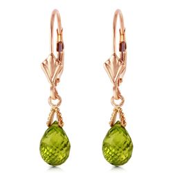 ALARRI 4.5 Carat 14K Solid Rose Gold Leverback Earrings Briolette Peridot