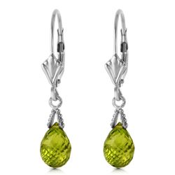 ALARRI 4.5 Carat 14K Solid White Gold Leverback Earrings Briolette Peridot