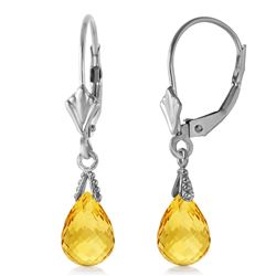 ALARRI 2.5 Carat 14K Solid White Gold Leverback Earrings Briolette Citrine