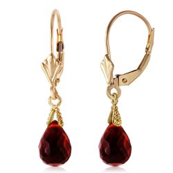ALARRI 4.5 Carat 14K Solid Gold Leverback Earrings Briolette Garnet