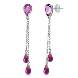 ALARRI 7.5 Carat 14K Solid White Gold Heart Can't Forget Amethyst Earrings