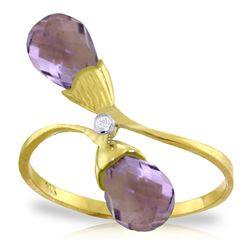 ALARRI 2.52 Carat 14K Solid Gold Ring Diamond Briolette Purple Amethyst