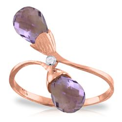 ALARRI 2.52 Carat 14K Solid Rose Gold Ring Diamond Briolette Purple Amethyst