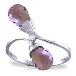 ALARRI 2.52 Carat 14K Solid White Gold Ring Diamond Briolette Purple Amethyst