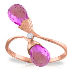 ALARRI 2.52 Carat 14K Solid Rose Gold Ring Diamond Briolette Pink Topaz