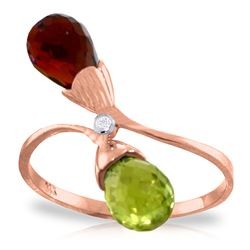 ALARRI 2.52 CTW 14K Solid Rose Gold Ring Diamond Briolette Garnet, Citrine
