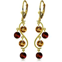 ALARRI 4.6 Carat 14K Solid Gold Grape Garnet Citrine Earrings