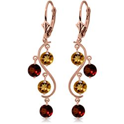 ALARRI 4.6 Carat 14K Solid Rose Gold Garnet Cirine Drop Earrings