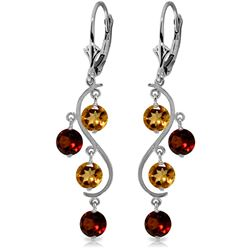 ALARRI 4.6 Carat 14K Solid White Gold Homage To Love Garnet Citrine Earrings