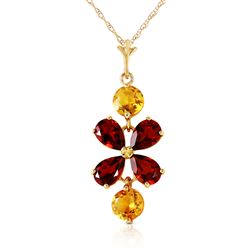 ALARRI 3.15 CTW 14K Solid Gold Felicita Garnet Citrine Necklace