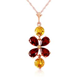 ALARRI 3.15 Carat 14K Solid Rose Gold Necklace Garnet Citrine