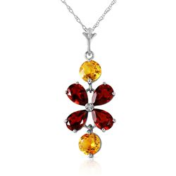 ALARRI 3.15 Carat 14K Solid White Gold Opposites Attract Garnet Citrine Necklace